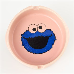 Cookie Monster Pembe Seramik Küllük