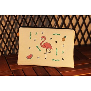 Flamingo Ve Karpuz Bez Clutch Çanta